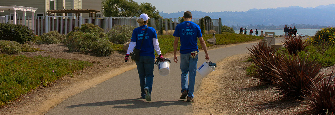 Chevron volunteers participating in Coastal Cleanup Day.